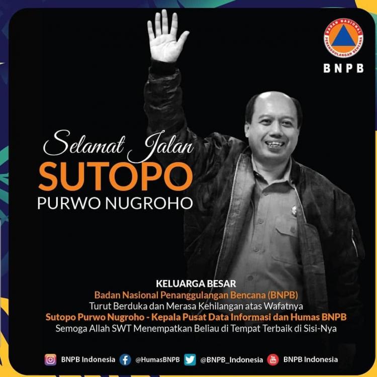Berjasa, Sutopo Dapat Gelar Penghormatan Saat Pemakaman