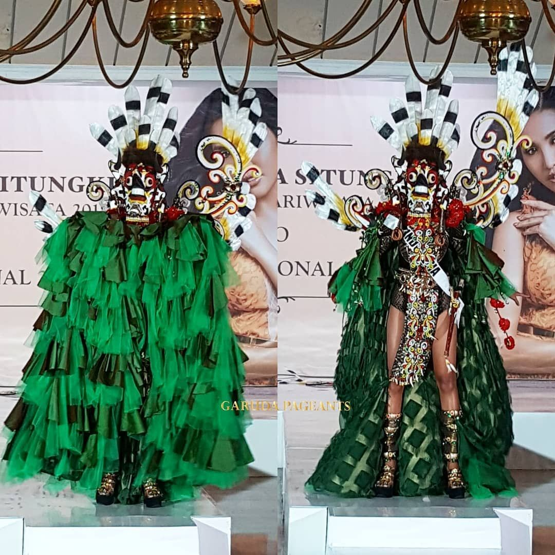 Di Ajang Miss Supranational 2018,  Putri Pariwisata Indonesia Pakai Topeng Sakral Dayak