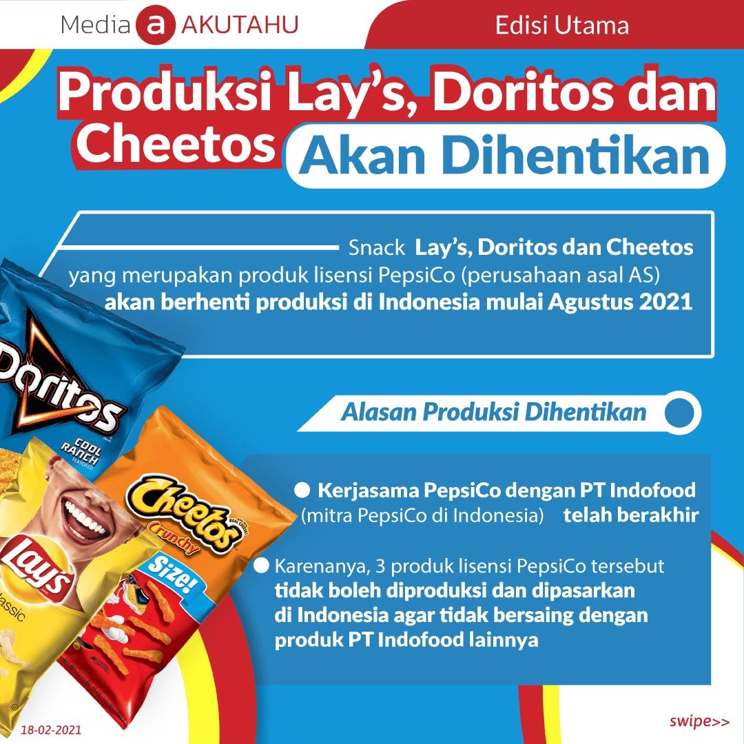 Produksi Lay's, Doritos dan Cheetos Akan Dihentikan
