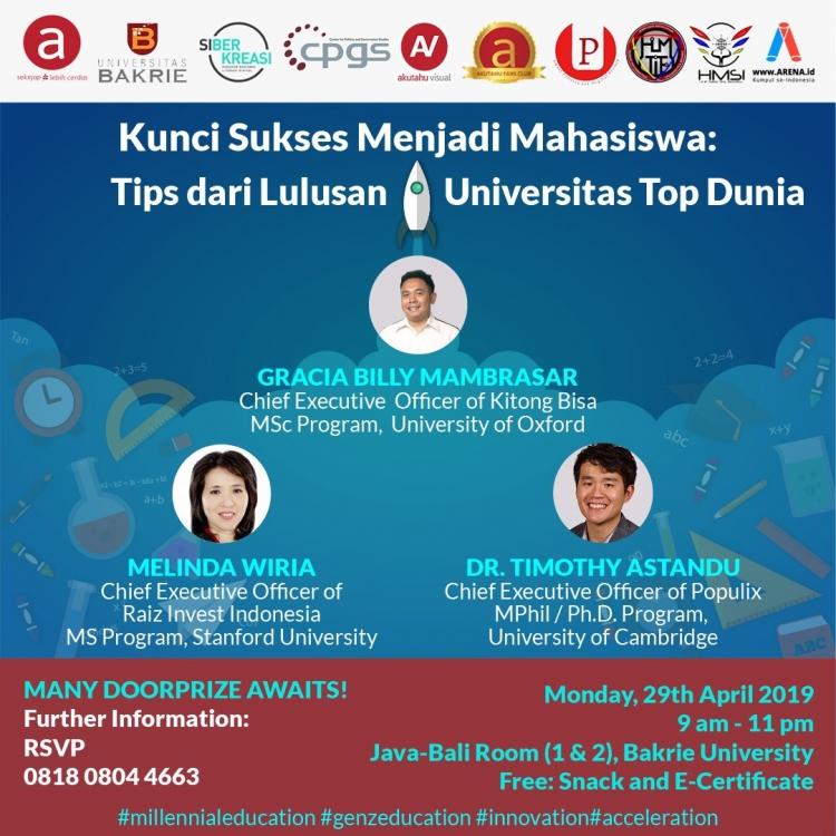 Seminar Kunci Sukses menjadi Mahasiswa; Tips dari Lulusan Universitas Top Dunia