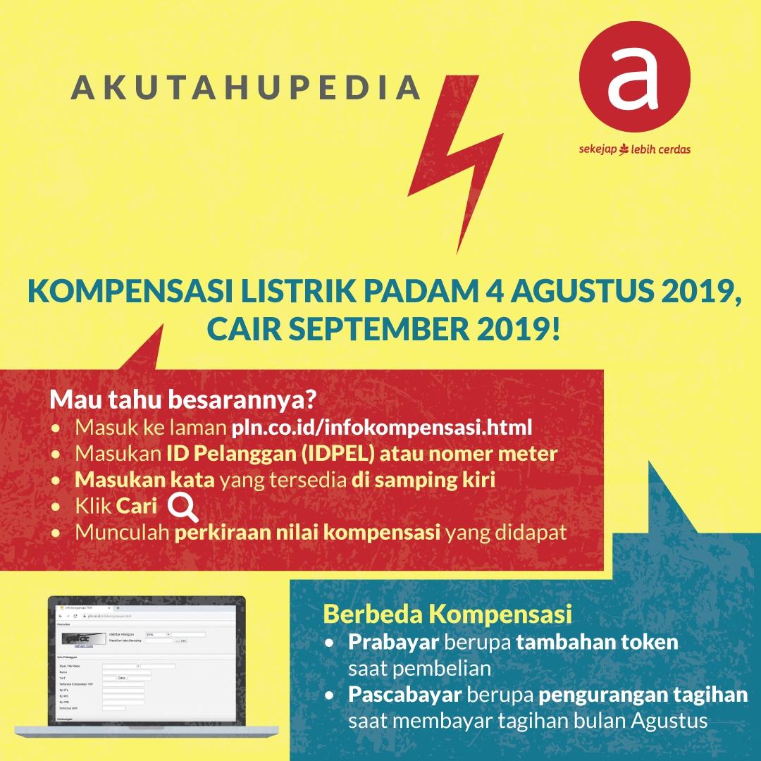 Kompensasi Listrik Padam 4 Agustus 2019, Cair September 2019!