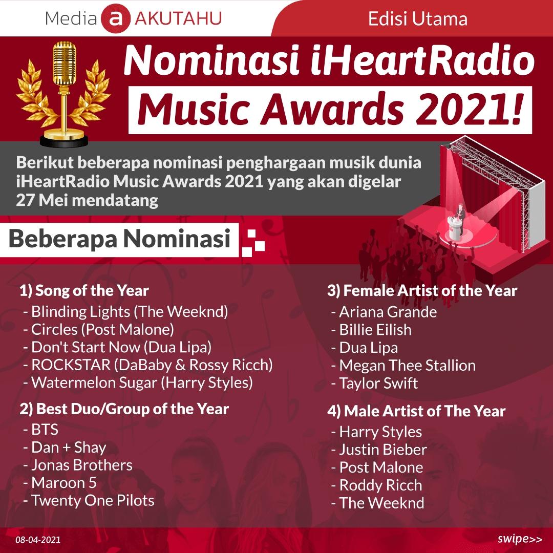 Vote Artis Favoritmu di iHeartRadio Music Awards 2021!